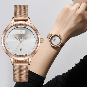 Women's Watch NAVIFORCE Top Brand Luxury Stainless Steel Quartz Watches Men Waterproof Simple Clock Rose Gold Relogios Feminino