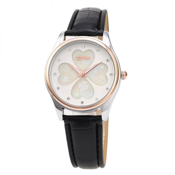 Four Leaf Clover Women Watch Leather Strap Rose Gold Lady Business Analog Watches