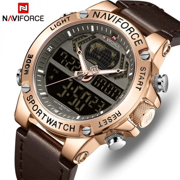 NAVIFORCE Watch Men Top Luxury Brand Leather Waterproof Sports Men's Watches Quartz Analog Digital Watch Male Relogio Masculino