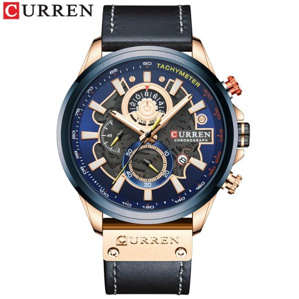 NEW CURREN Fashion Sport Watch Men Blue Top Brand Luxury Military Leather Wrist Watches Man Clock Casual Chronograph Wristwatch