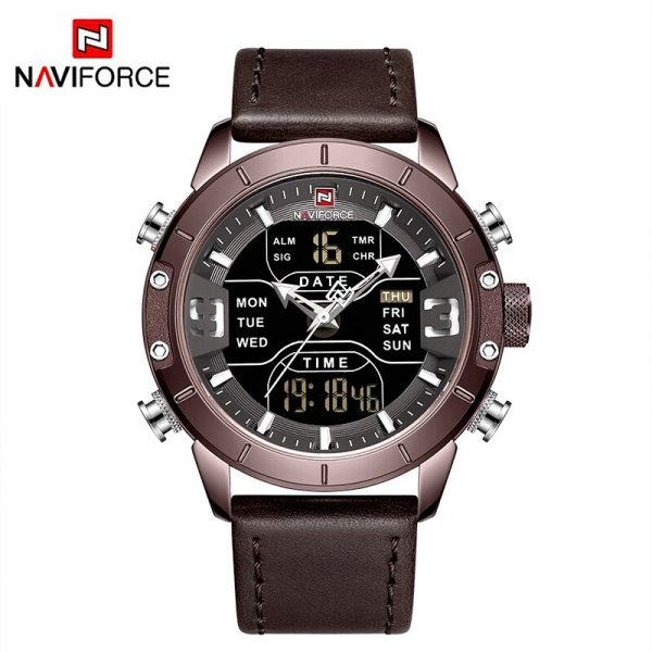 NAVIFORCE Military Watch for Men LED Dual Display Chronograph Sport Wristwatch Male Leather Band Waterproof Quartz Luxury Clock