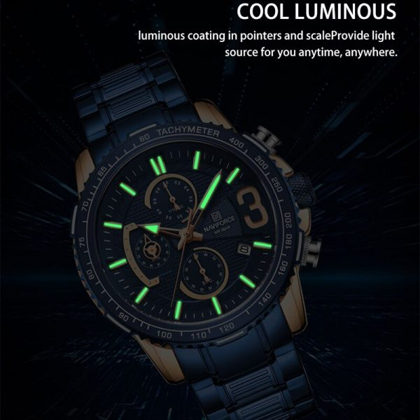 NAVIFORCE Fashion Blue Mens Watches Top Brand Luxury Quartz Clock Sports Chronograph Waterproof Watch Men Relogio Masculino