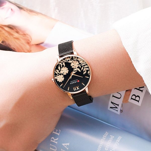 Fashion Casual CURREN Women Watches Black Fashion Classy Quartz Stainless Steel Watch Ladies Relogios Feminino Flower Clock