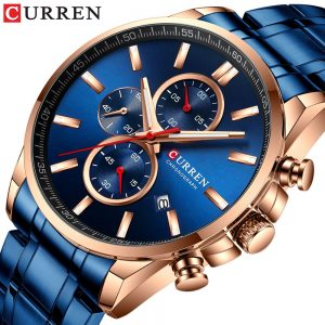 CURREN Men Watch Causal Sport Watches Top Luxury Brand Blue Full Steel Quartz Wristwatch Chronograph Military Male Clock