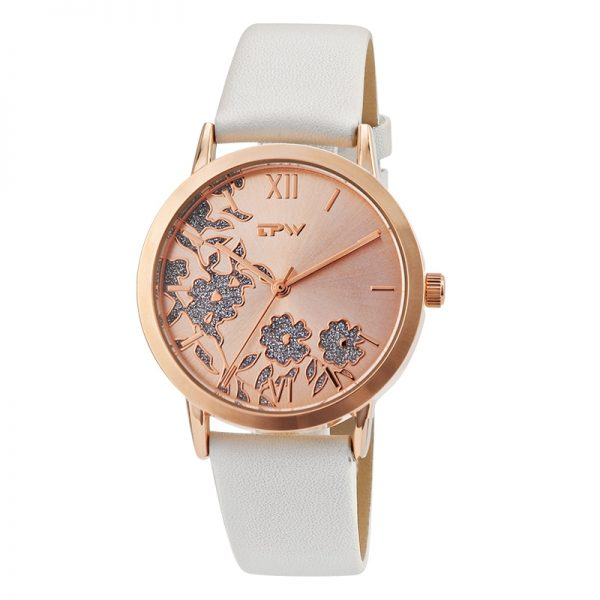 Fashion Women Roman WristWatch Glitter Flower Clock for Lady Quartz